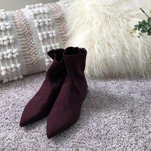 NWOT ZARA eggplant point sock boots size 38